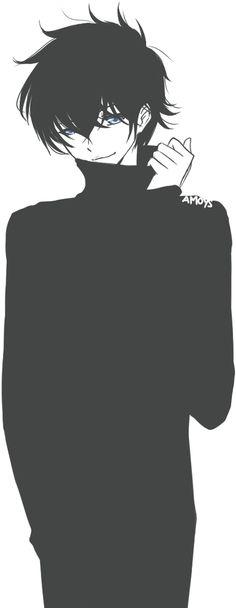 Anime boy, black hair, mask, metal pipe, hoodie, black jacket.