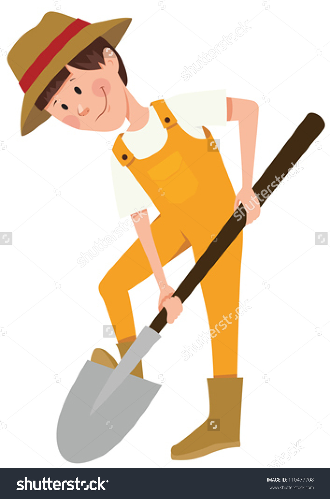 Boy Digging With Shovel Clipart.