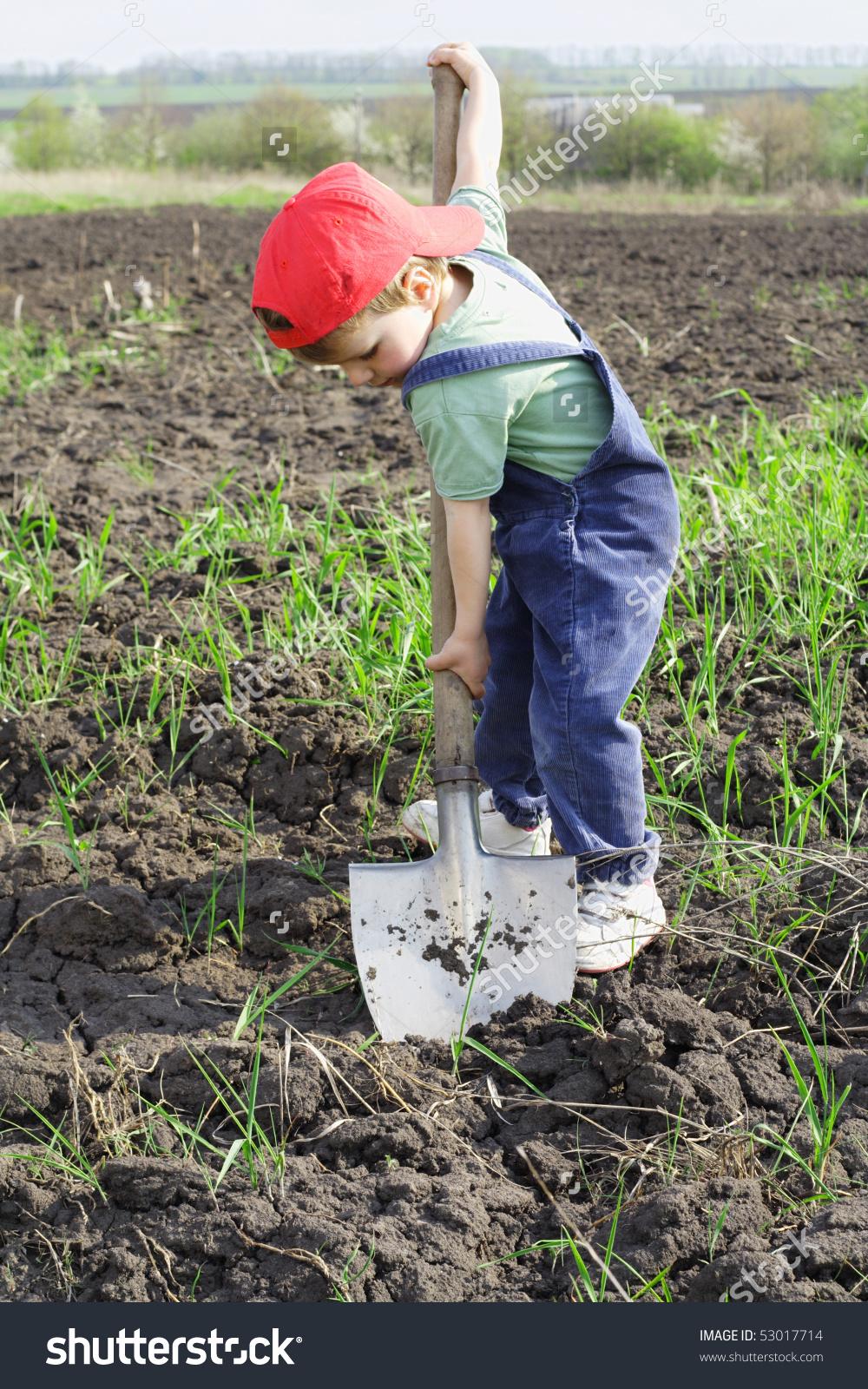 Little Boy Dig Big Shovel Stock Photo 53017714.
