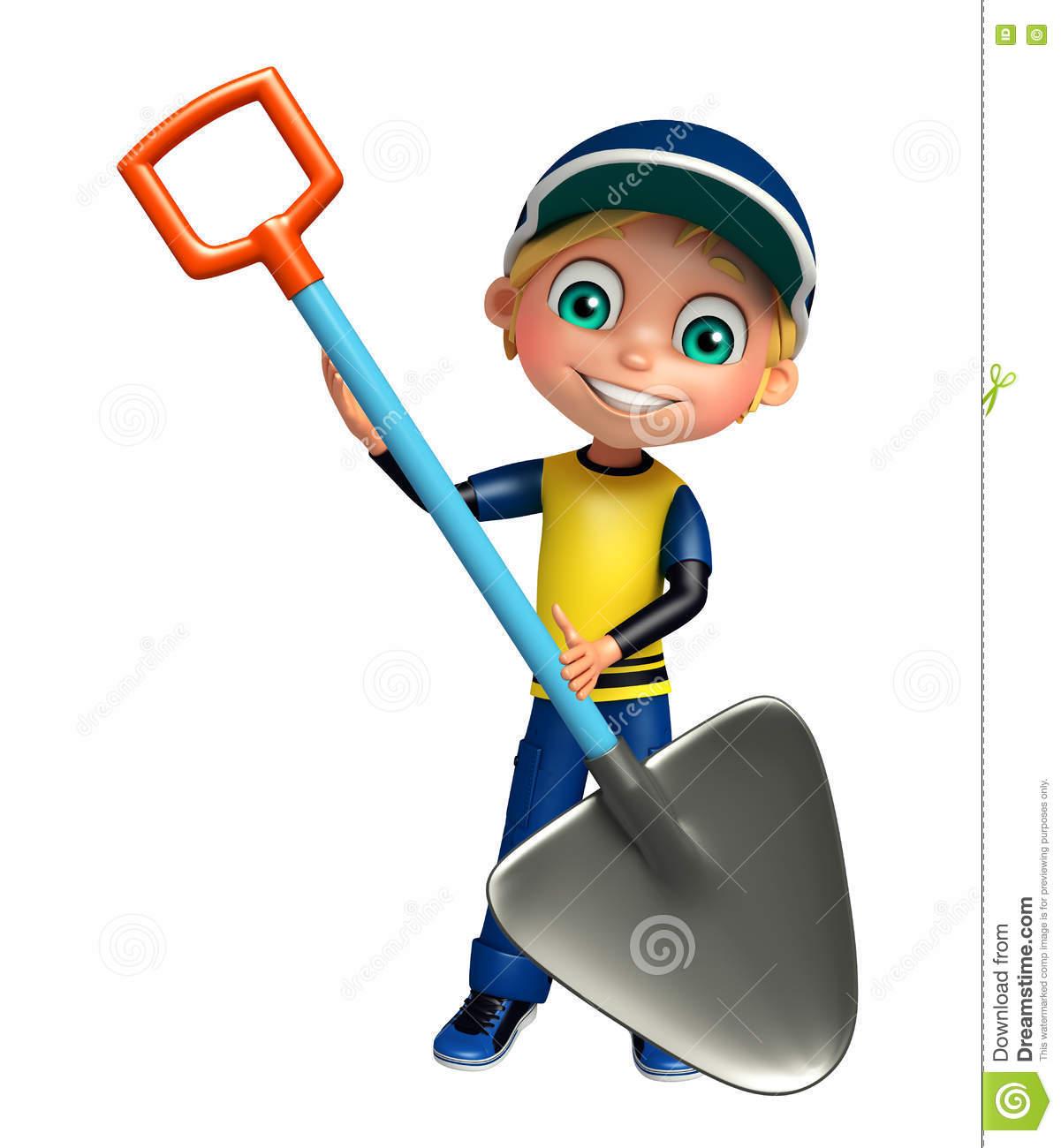 Kid Boy With Digging Shovel Stock Illustration.