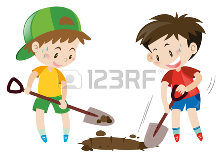 Two Boys Digging Hole With Shovels Illustration Royalty Free.