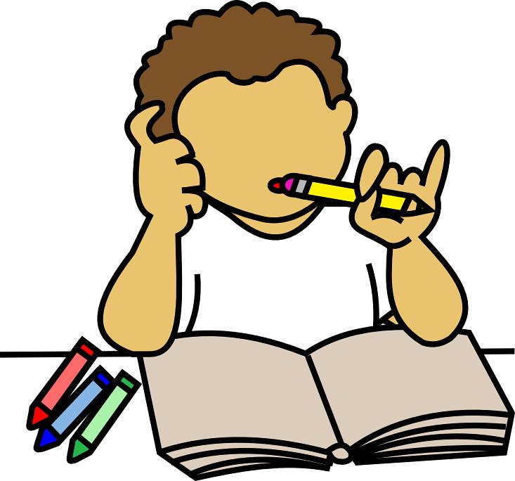 Boy Doing Homework.