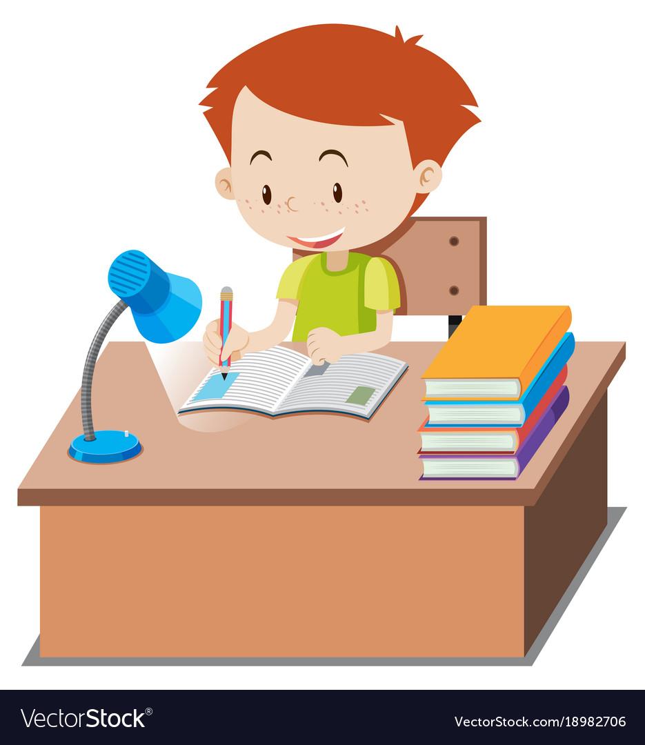 Little boy doing homework on table » Clipart Station.