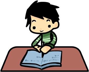 Boy Doing Homework clip art.