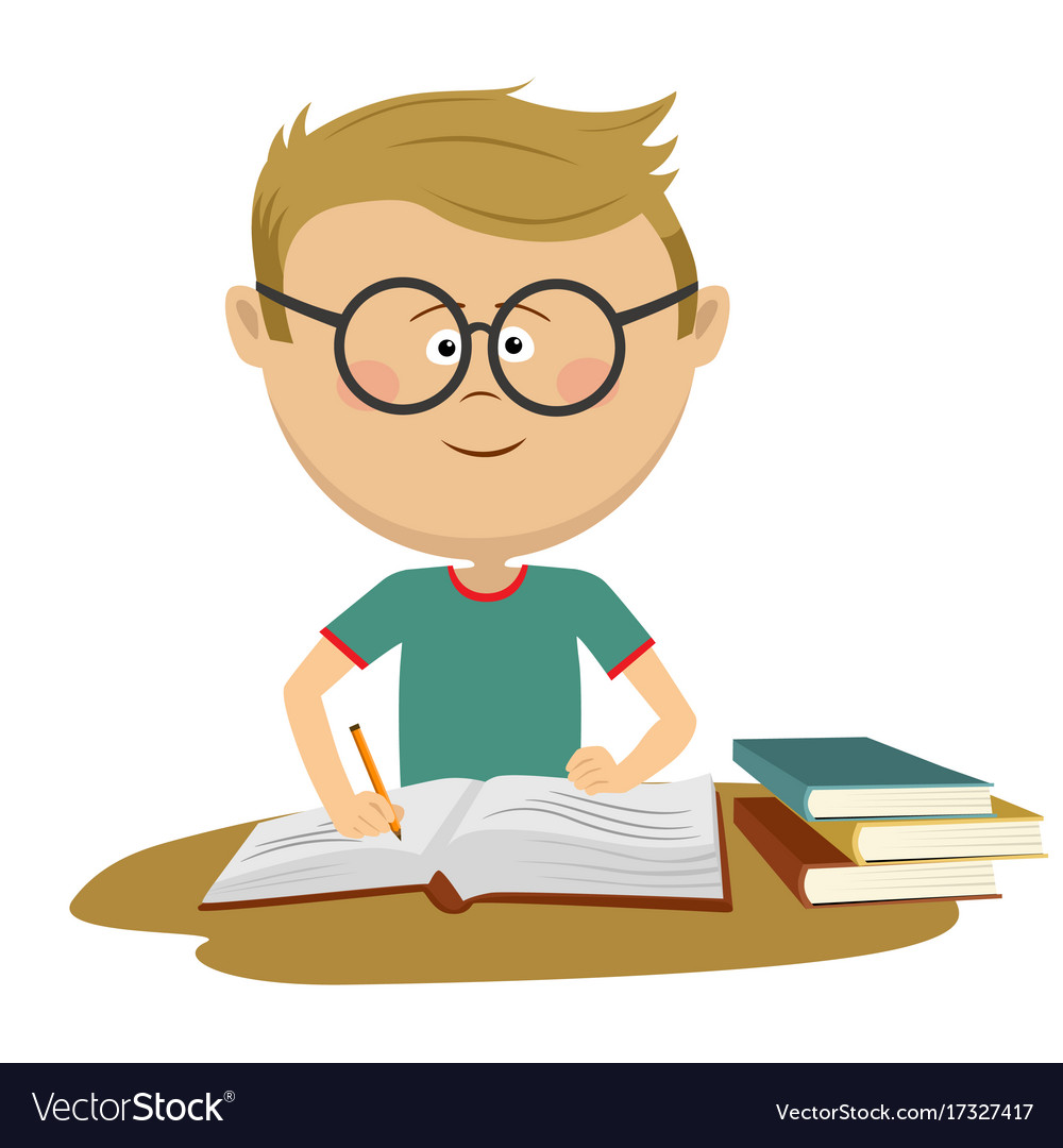 Little nerd boy with glasses doing his homework.
