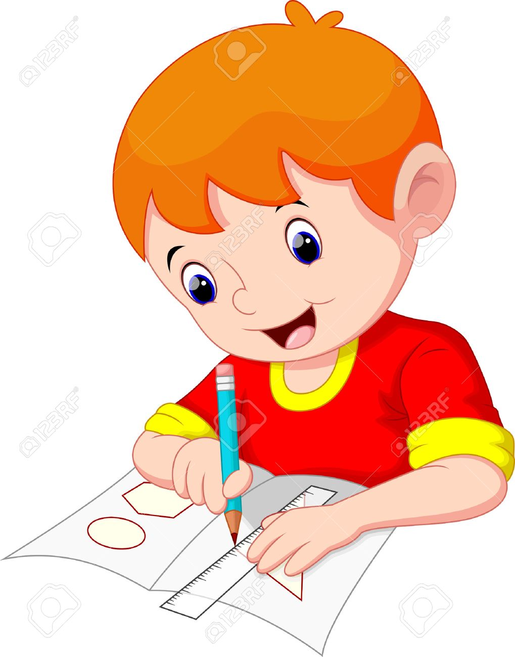 Little boy drawing on a piece of paper.