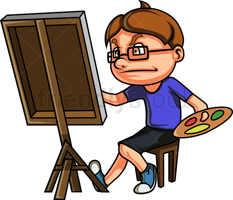 Nerdy Kid Drawing A Painting.