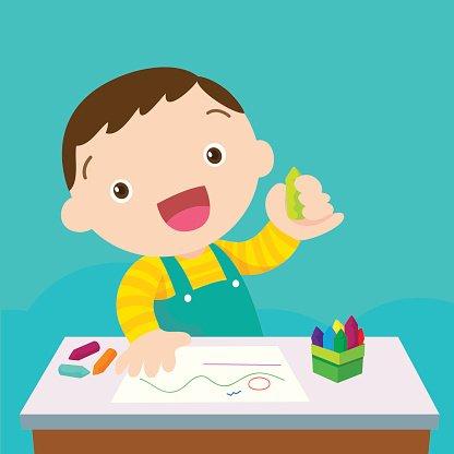 Cute Boy Drawing premium clipart.