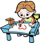 boy drawing a picture.