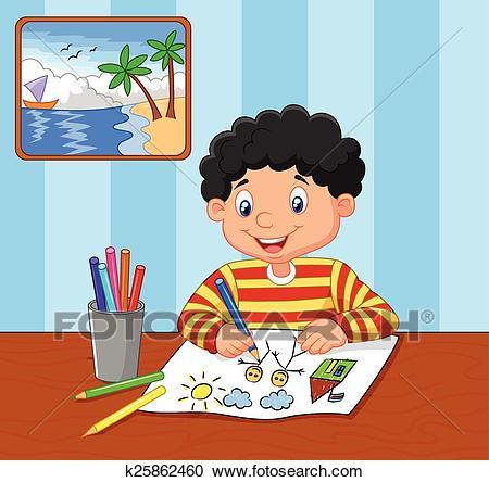 Cartoon little boy drawing Clipart.