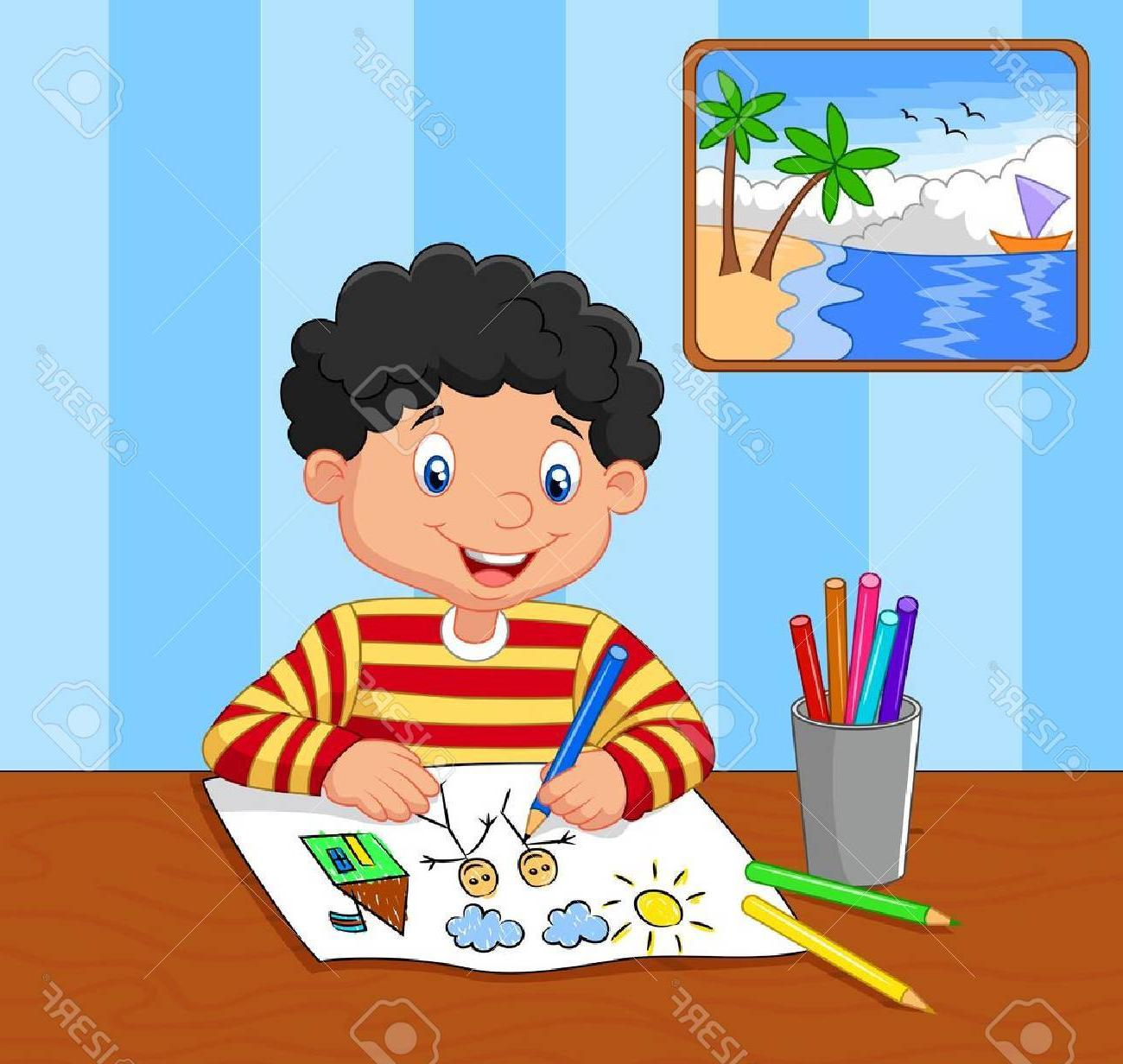 Picture Of A Boy Drawing at PaintingValley.com.