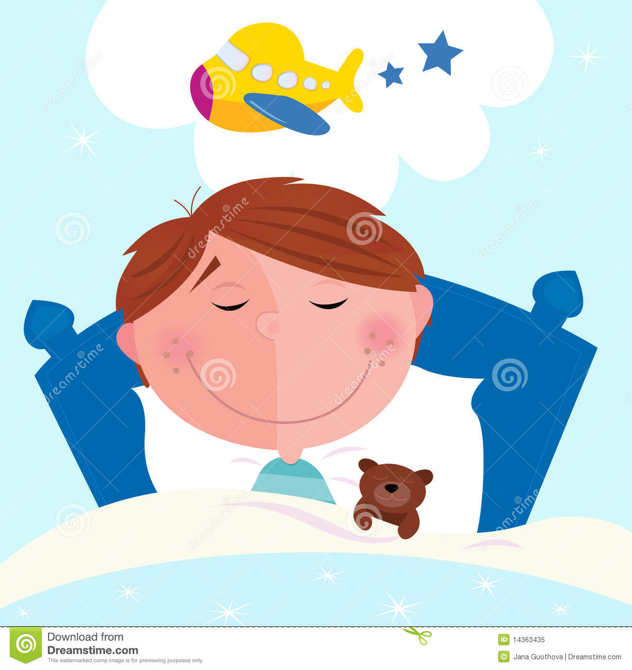 Small Boy Sleeping In Bed Dreaming About Airplane Stock Vector.