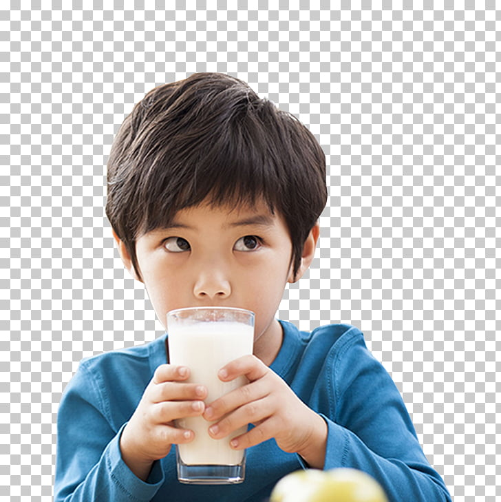 Milk Drinking, Small black haired boy holding the cup of.