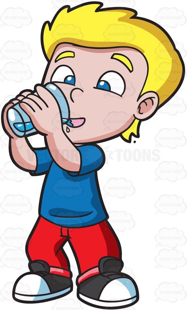 A happy boy drinking water #cartoon #clipart #vector.