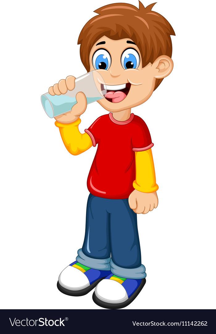 Cute boy cartoon drinking water.