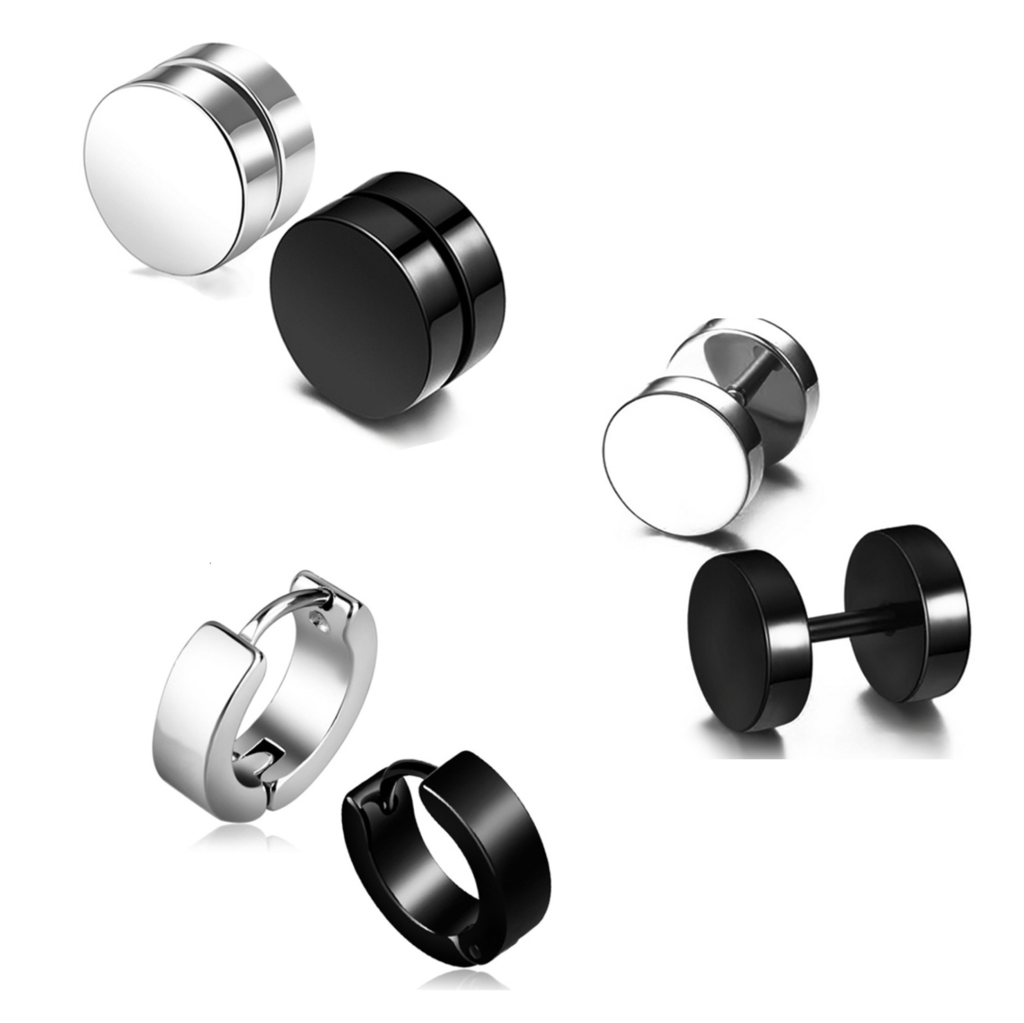 Set Of 6 Boys Charm Round Faux Black Silver Plug Stud Earrings for Men.