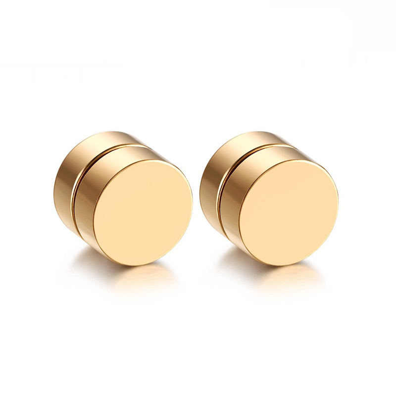 Magnetic Round Stud Earrings For Men Boy 316l Stainless Steel Magnet.