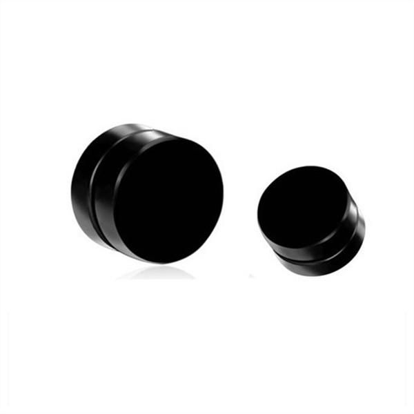 Men Black Magnetic Rounded Ear Clip Studs Earrings Non Piercing.