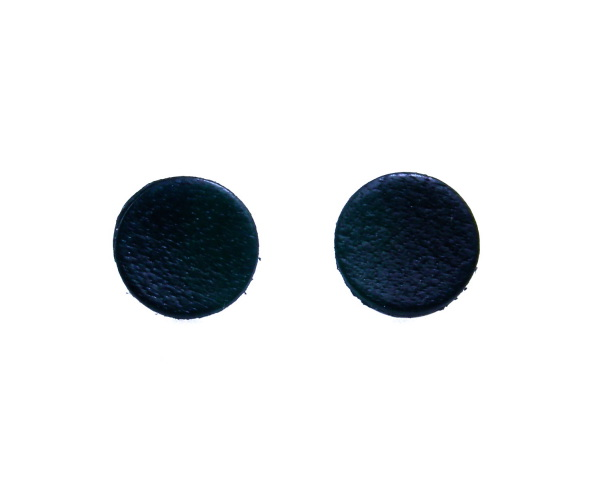 Mens Black Studs Leather Flat Disc Earrings 1cm.