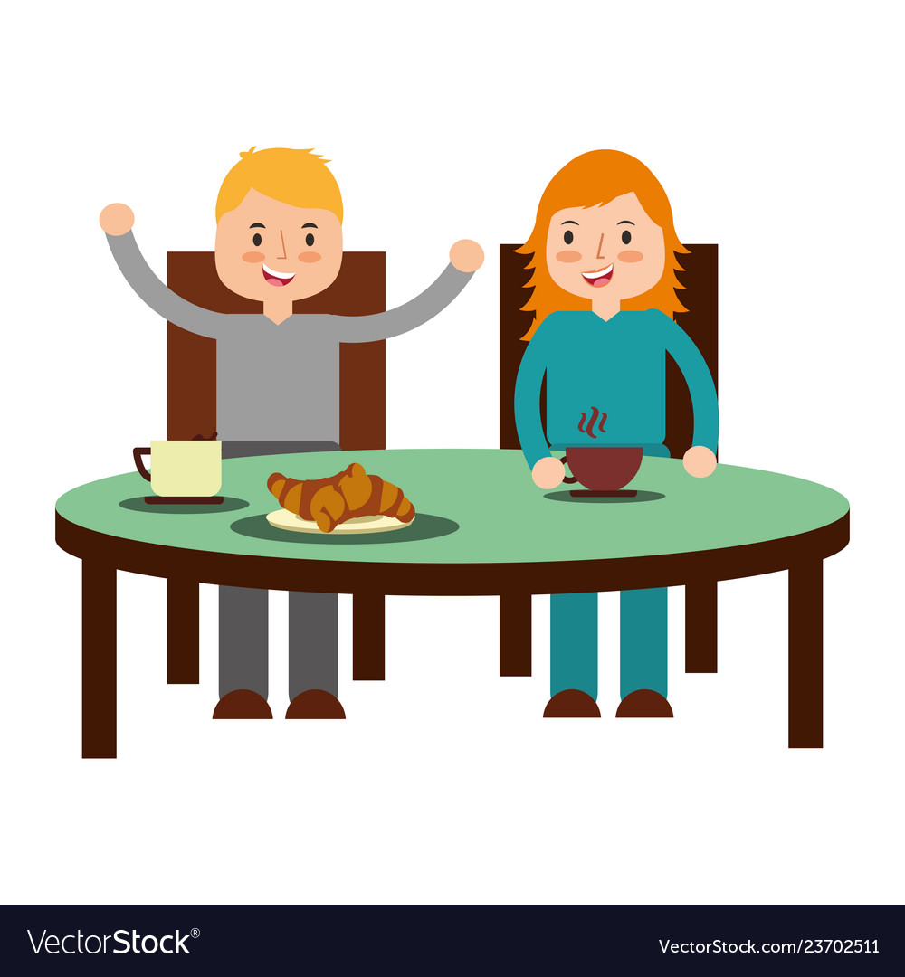 Boy and girl eating breakfast.