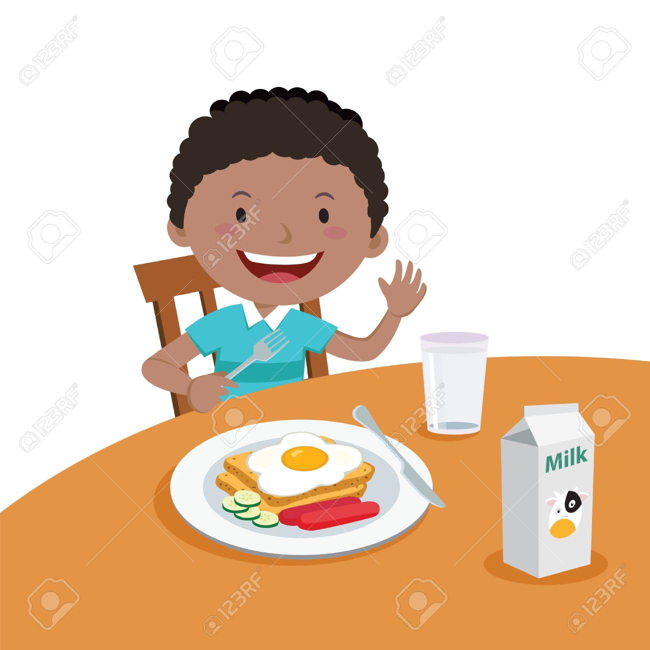Clipart Boy Eating Breakfast.