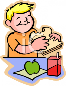 Boy Eating Sandwich Clipart.