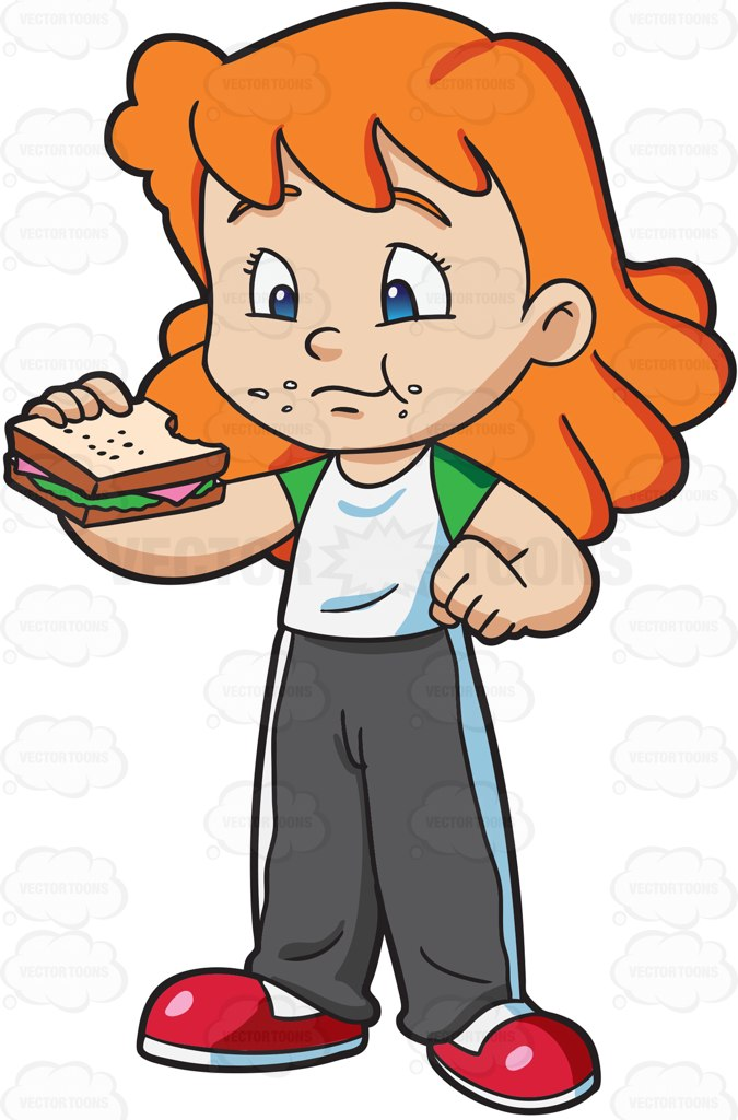 Girl Eating Sandwich Clipart.