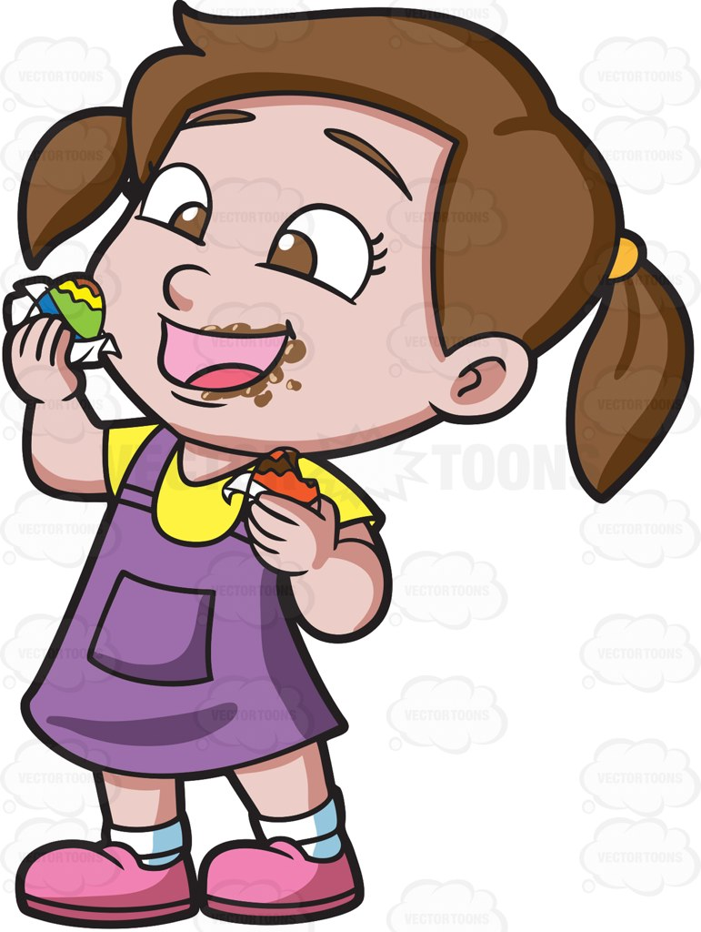 Girl Eating Chocolate Clipart.
