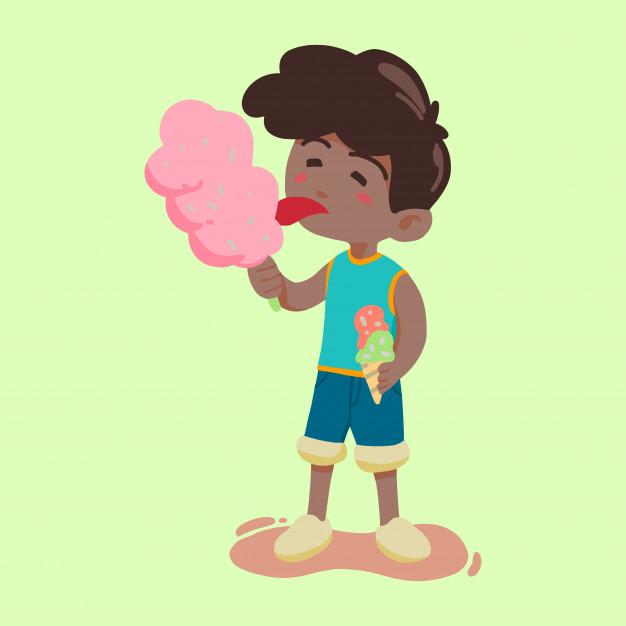 Boy eating candy and ice cream vector Vector.