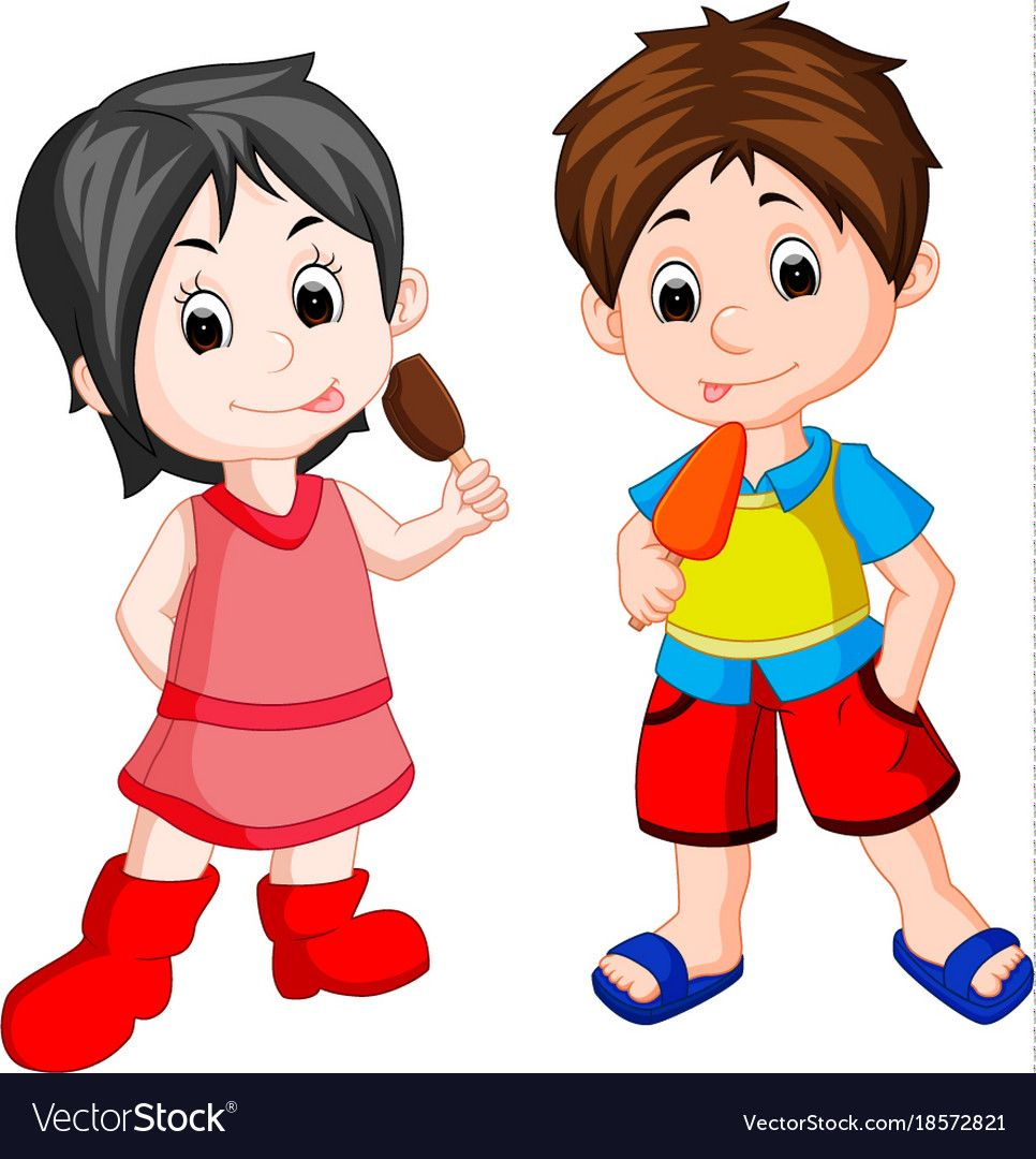 Cute boy and girl eating ice cream Royalty Free Vector Image.