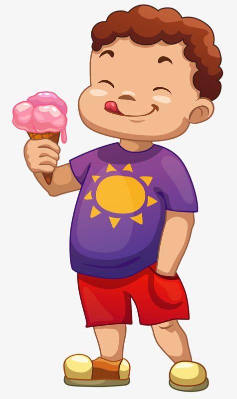Little Boy Eating Ice Cream, Boy Clipart, Little Boy, Ice.