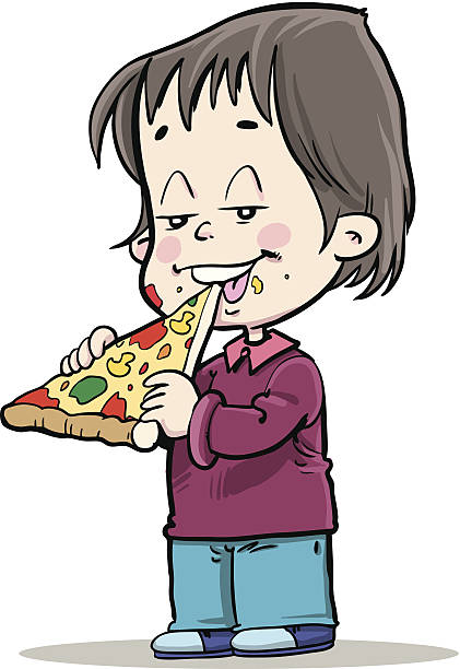 Boy Eating Pizza Clip Art, Vector Images & Illustrations.