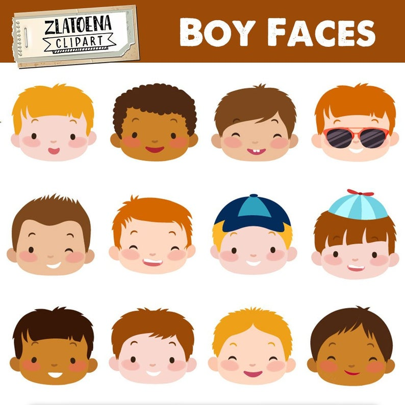 Cute Boy Faces clipart Kids Faces Digital Clipart Cute Kids Clip Art  Children Head Illustration Boy Head Digital Clip art Boy Clip Art.