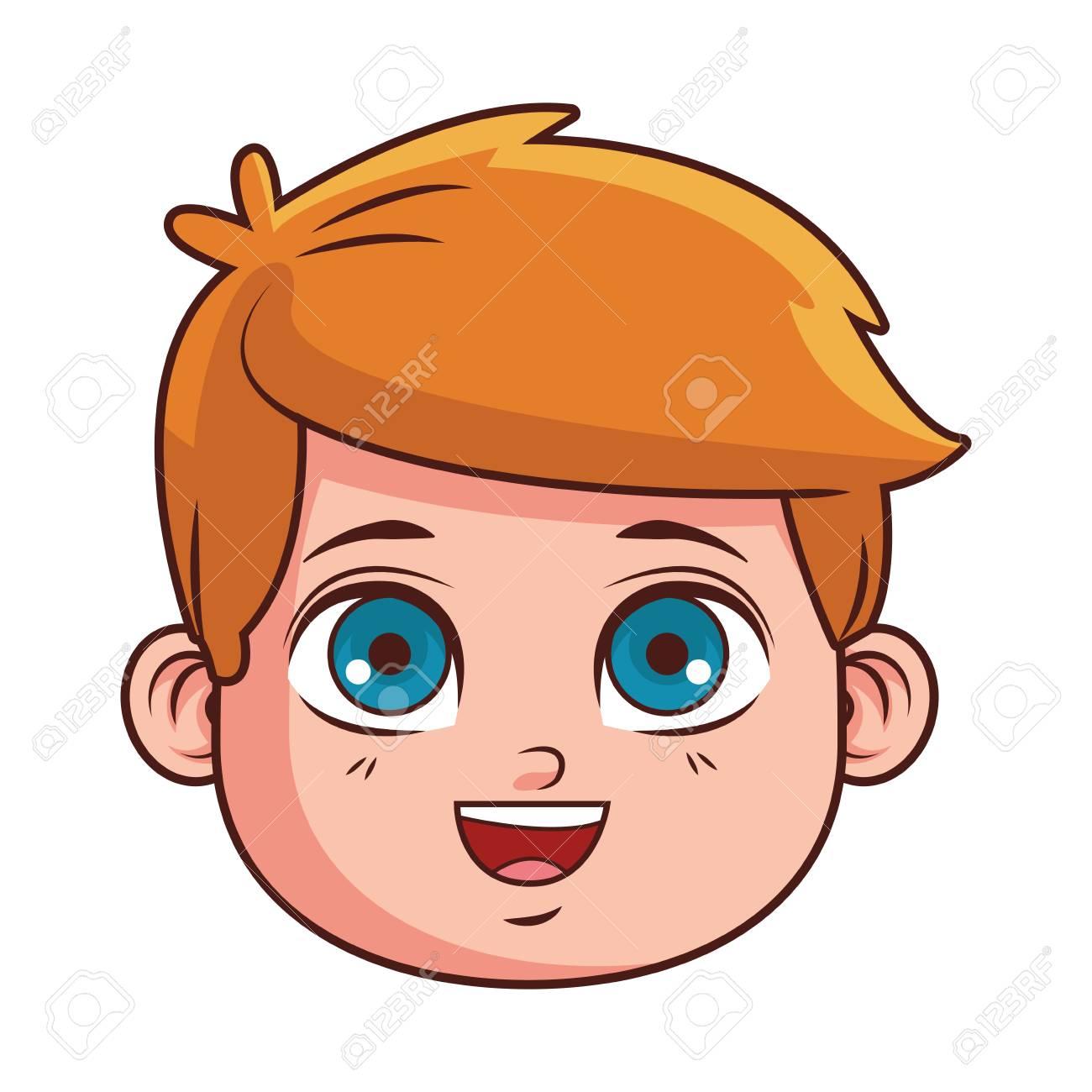 cute boy face cartoon vector illustration graphic design.