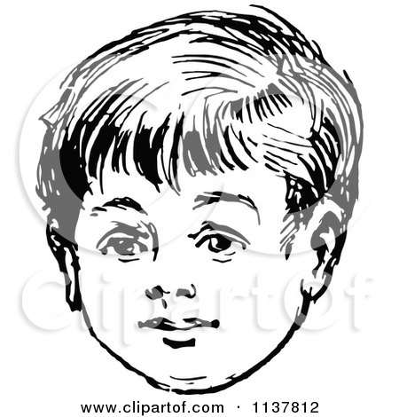 Clipart Of A Retro Vintage Black And White Boys Face.