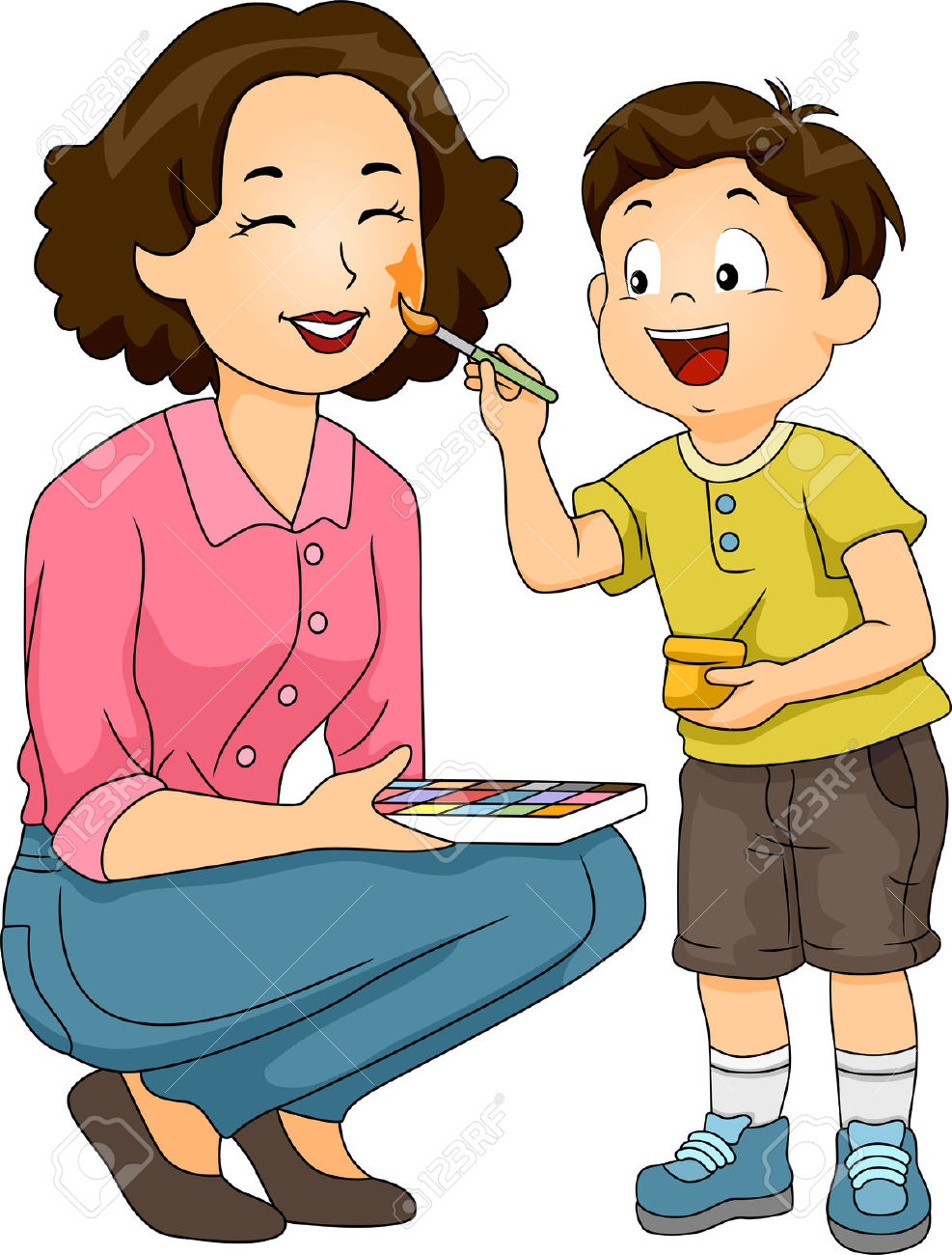 Illustration Of A Boy Painting The Face Of His Mother Stock Photo.