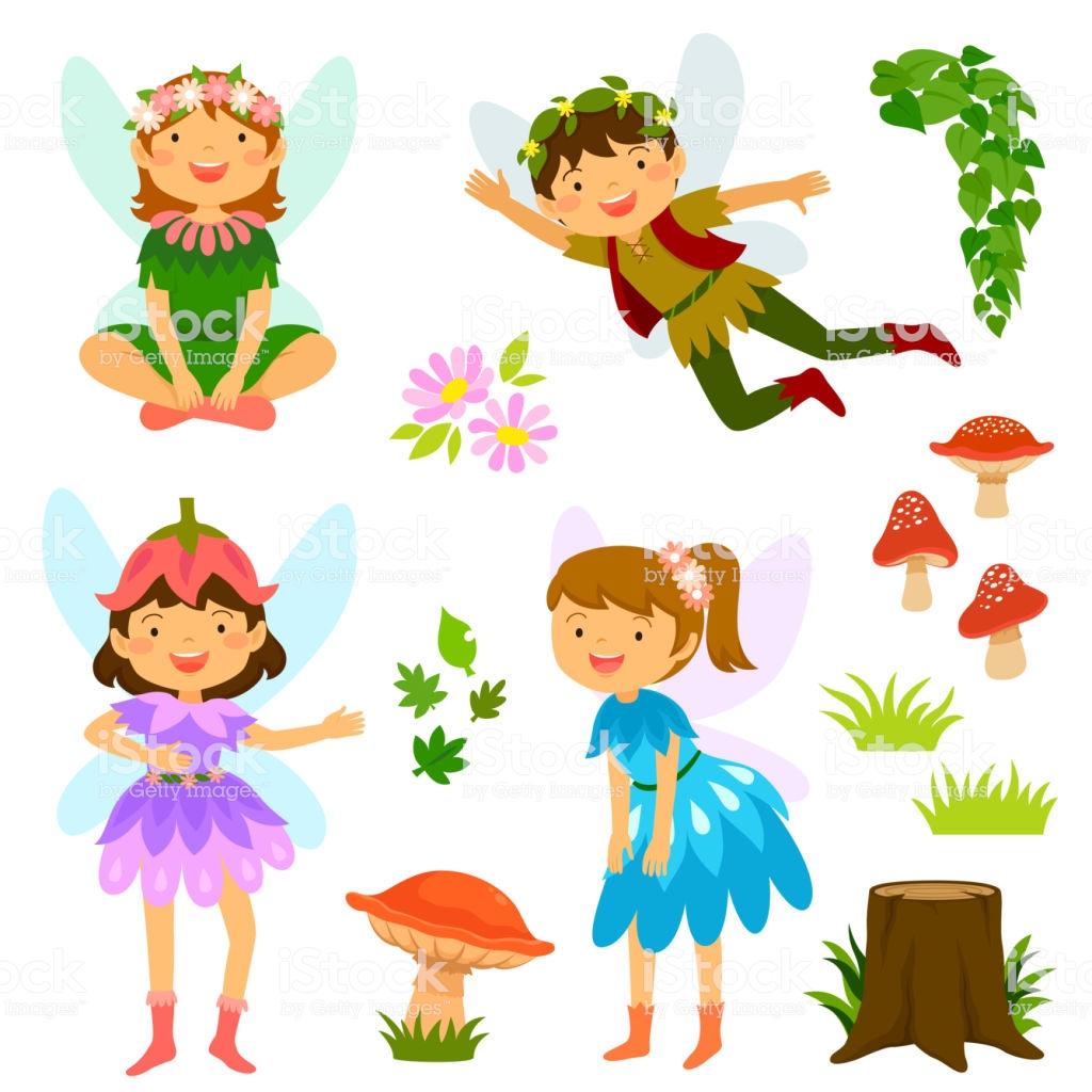 Fairies Of Both Genders Stock Illustration.