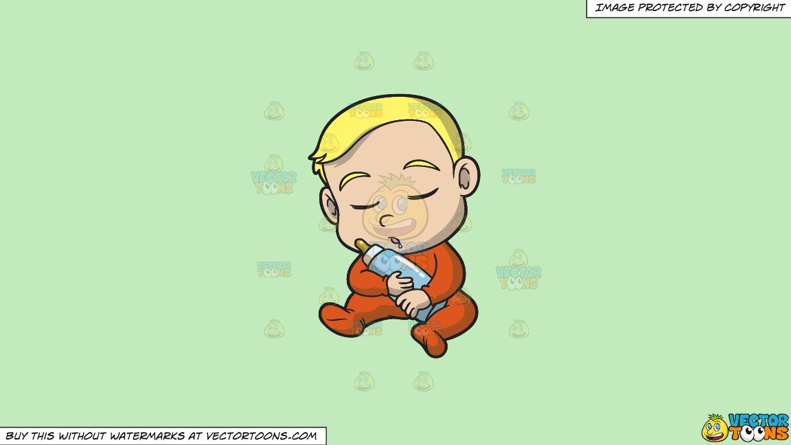 Clipart: A Baby Boy Falling Asleep While Sitting Down on a Solid Tea Green  C2Eabd Background.