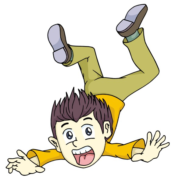 Boy falling down clipart.