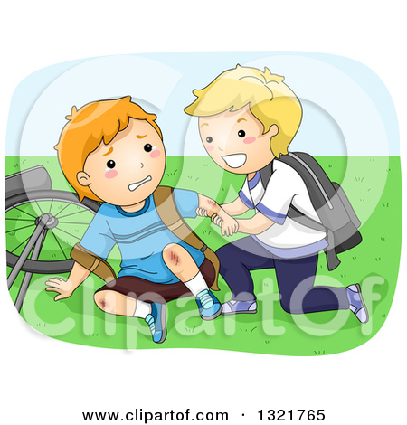 Clipart of a Nice Blond Boy Helping a Friend up After Falling off.