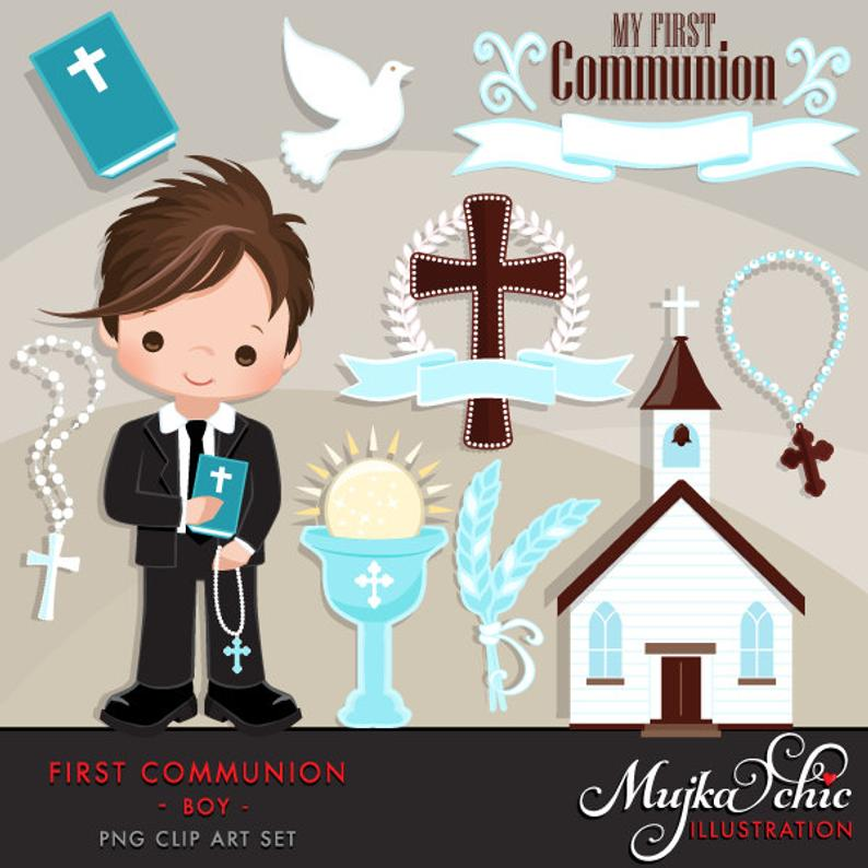 First Communion Clipart for Boys. Cute Communion characters, graphics,  bible, church, rosary, communion banner. First Communion Graphics..