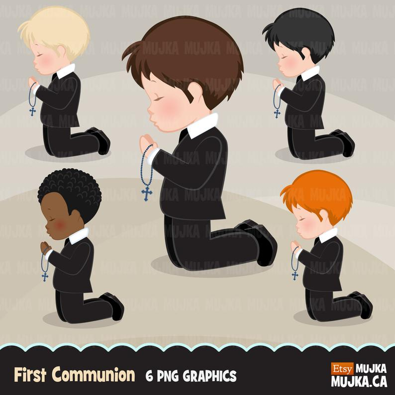 First Communion Clipart for Boys. Characters, graphics, praying boys, holy,  Invitations, planner, stickers, religious, illustration, suit.