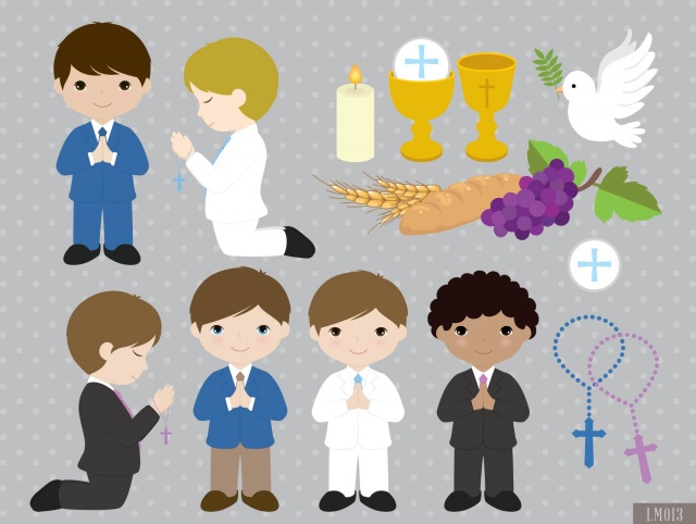 Boy First Communion Digital Clipart and Papers.