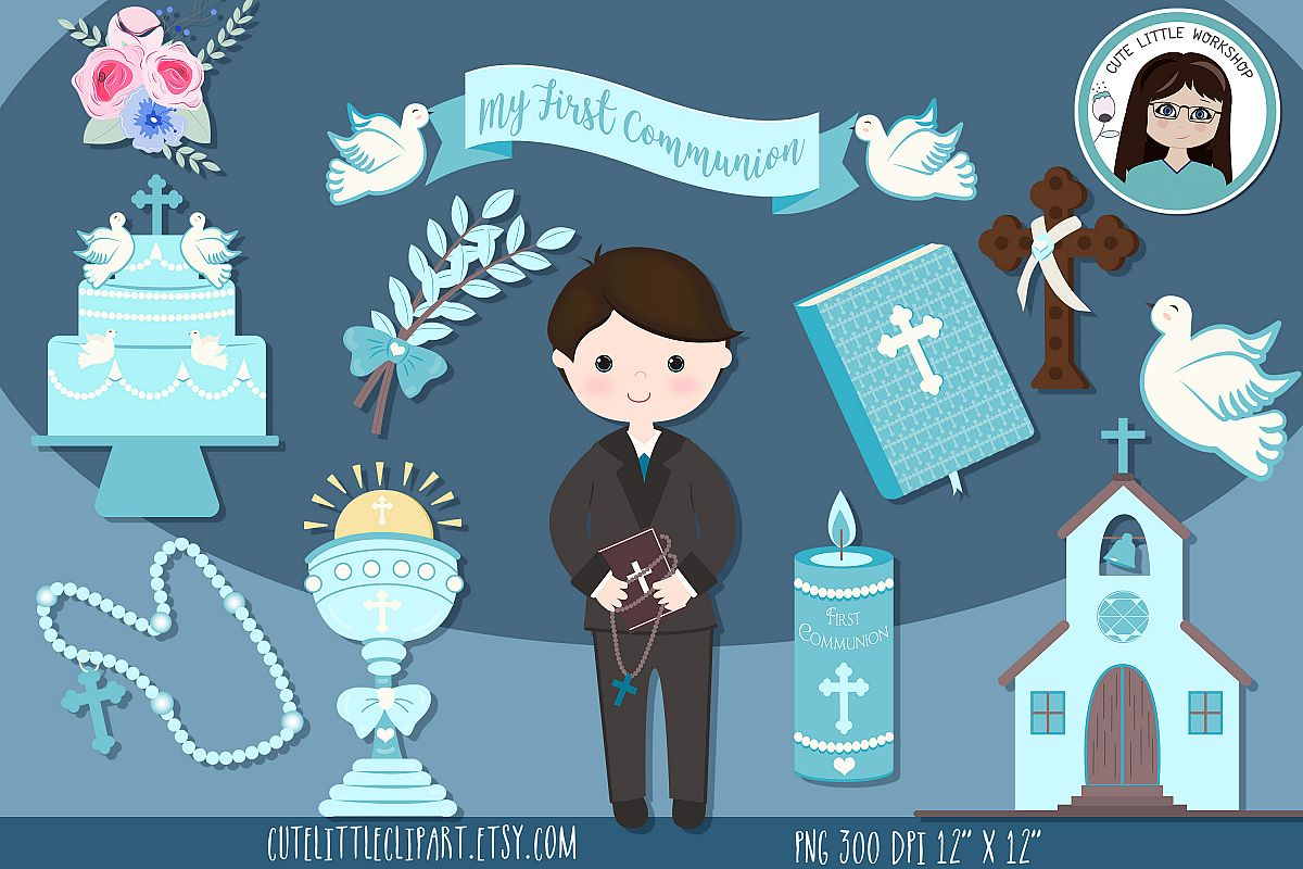 First Holy Communion Boy clipart bundle, Blue Boy Communion.