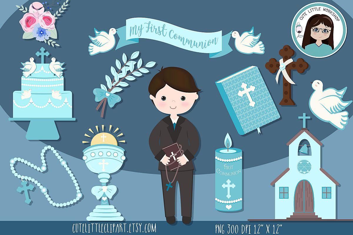 First Holy Communion Boy clipart bundle, Blue Boy Communion.