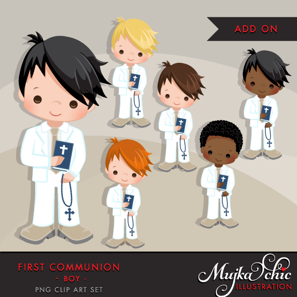 First Communion Clipart for Boys White.
