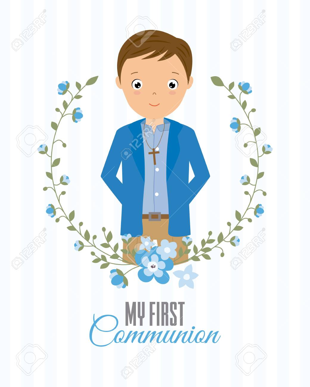 my first communion boy. boy with communion dress and flower frame.