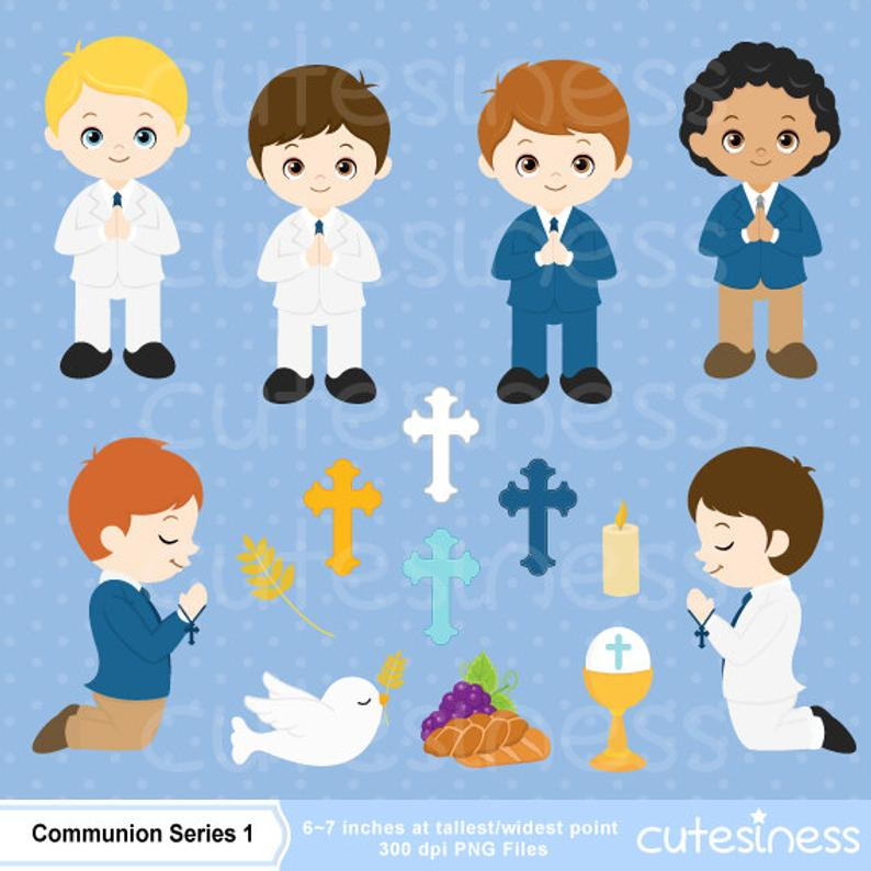 Boys First Communion Digital Clip Art, First Communion Clip Art, First  Communion Boys Digital Clipart, Boy First Communion Clip Art.