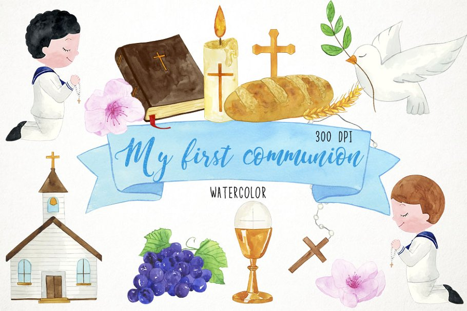 Boy First Communion Clipart.