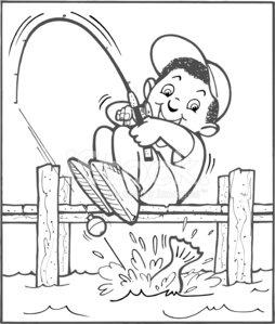 Boy Fishing premium clipart.